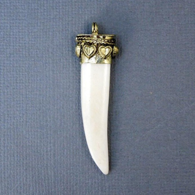 White Carved Bone Petite Horn Pendant with Engraved Brass Cap