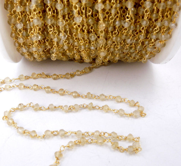 Citrine Wire Wrapped Gold over Sterling Silver Chain - Rosary Style Beaded Chain