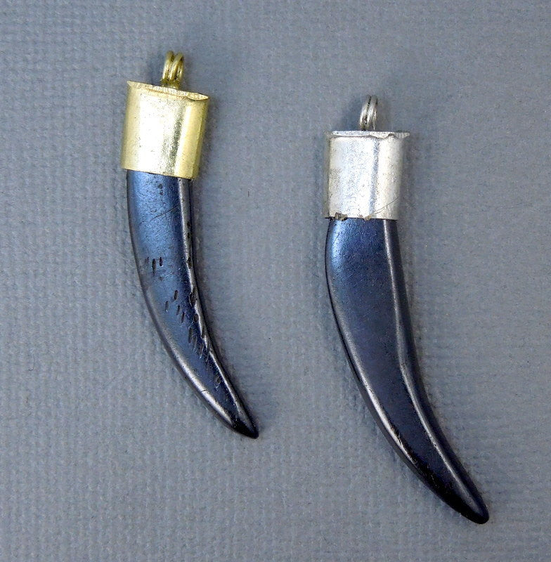 Tibetan Horn Pendant-  Small Black Carved Bone Horn Pendant with Silver Tone Brass Cap