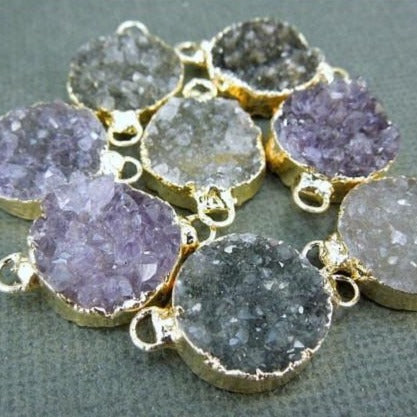 Amethyst Druzy Cluster Semi-Circle Double Bail Pendant with 24k Gold Electroplated Edge (S1B8-07)