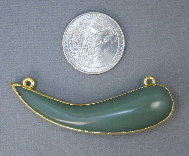 Aventurine Sideways Horn- Double Bail Aventurine Pendant Horn Connector with Electroplated 24k Gold Edges