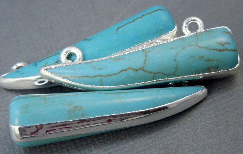 Turquoise Howlite Sideways Horn - Double Bail White Howlite Pendant Horn Connector with Silver Electroplated Edges