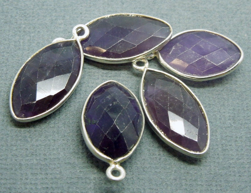 Amethyst Leaf Shaped Pendant- Sterling Silver Bezel - Single Bail Charm Pendant