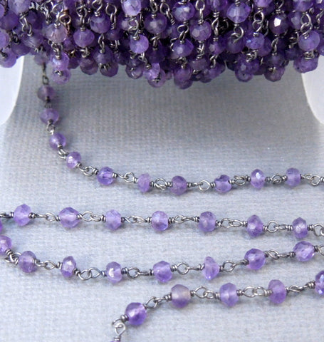 Amethyst Wire-Wrapped Chain-- Rosary style Oxidized Sterling Silver Chain (CHN-327)