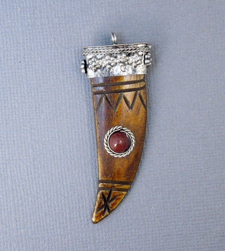 Tibetan Brown Carved Bone Horn Pendant with Engraed Silver Tone Cap and Red Coral Accent