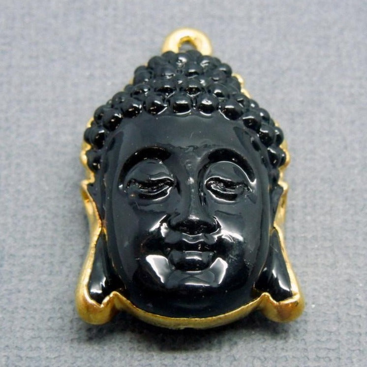 Black Buddha Electroplated in 24k gold pendant(S1B5-06)