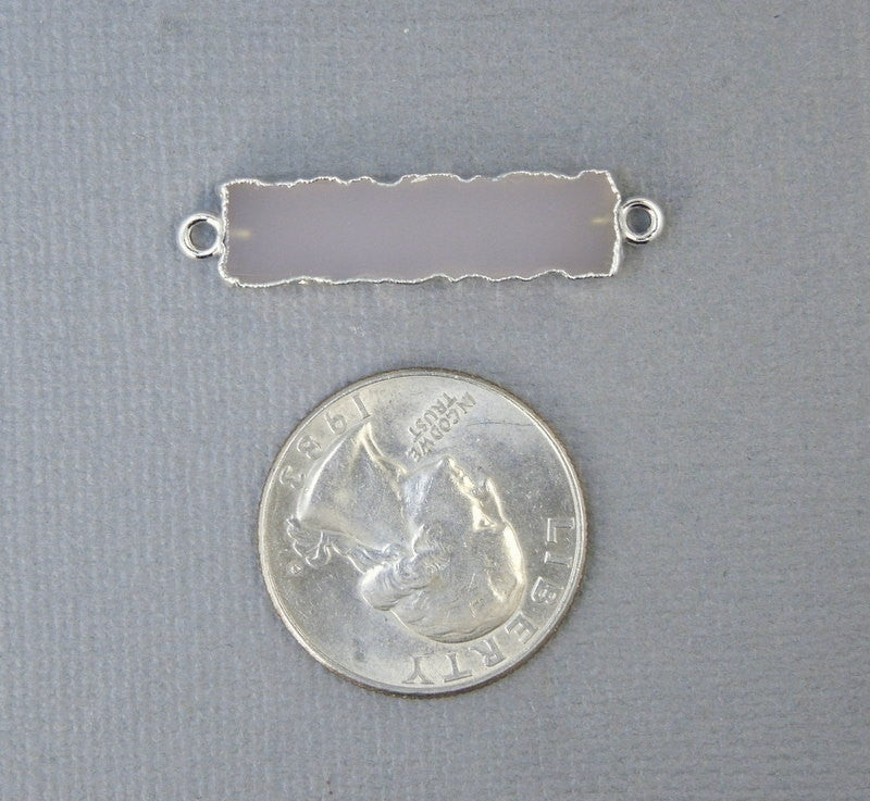Rose Pink Chalcedony Bar Double Bail Charm Connector Pendant with Sterling Silver Electroplated Edges