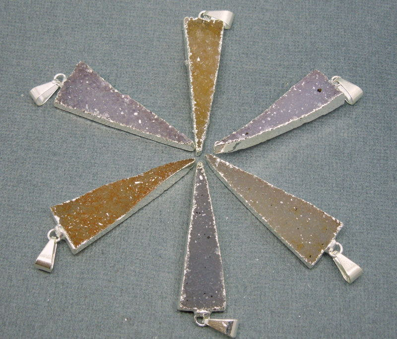 Long Thin Druzy Triangle Pendant edged in Electroplated silver
