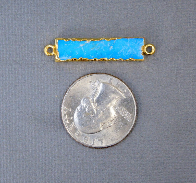 Turquoise Howlite Bar Double Bail Charm Connector Pendant with 24k Gold Electroplated Edges (S28B9-01)