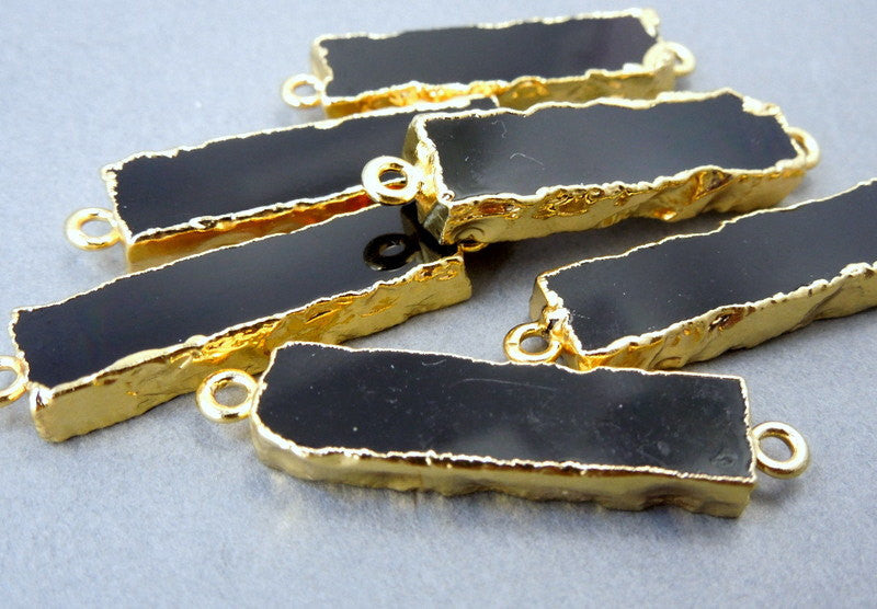 Black Agate Bar Double Bail Charm Connector Pendant with 24k Gold Electroplated Edges