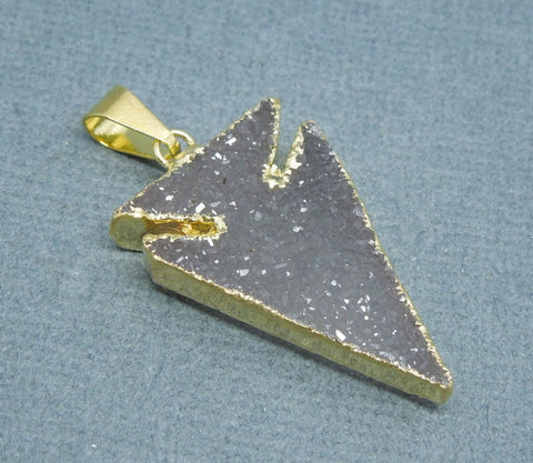 Purple Agate Arrowhead Pendant with 24k Gold Plated Edge