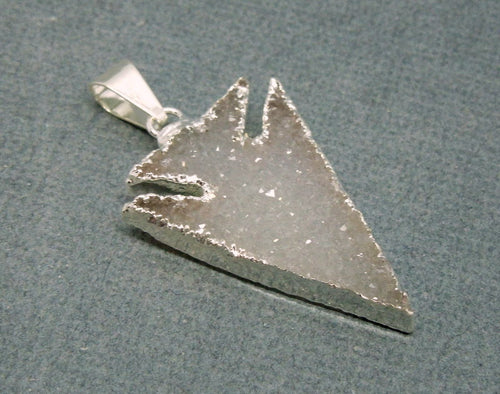 Druzy Arrowhead  Pendant edged in Electroplated Silver (S11B11-02)