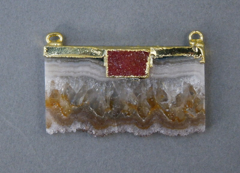 Amethyst Slice with Rectangle Druzy Pendant Double Bail Connector with Electroplated 24k gold edge double bail ASP