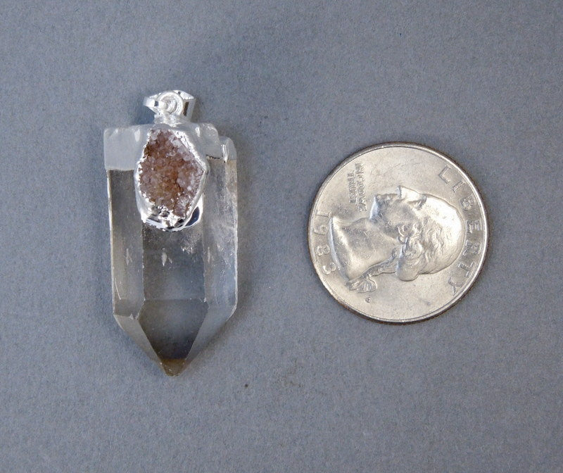 Crystal Quartz Point Pendant with Druzy Silver Electroplated Cap and Druzy Accent 1 or 3 Crystals (S20B1-02)
