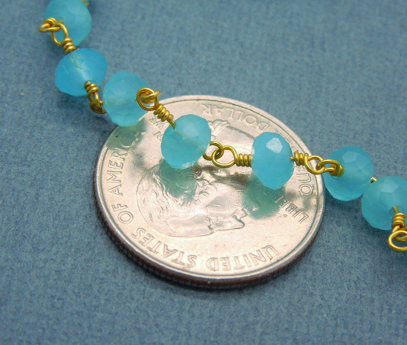 Aqua Blue Chalcedony Wire Wrapped Beaded Chain - Gold Rosary Style Chain