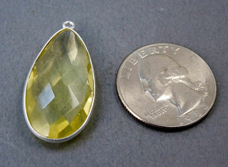 Lemon Quartz Teardrop Station Pendant Charm- 15mm x 30mm Round Sterling Silver Bezel