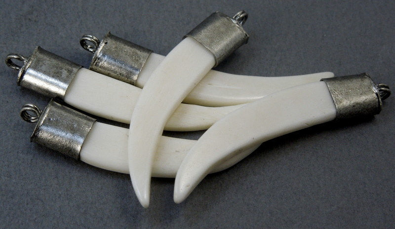 White Carved Bone Horn Pendant with Silver Tone Cap