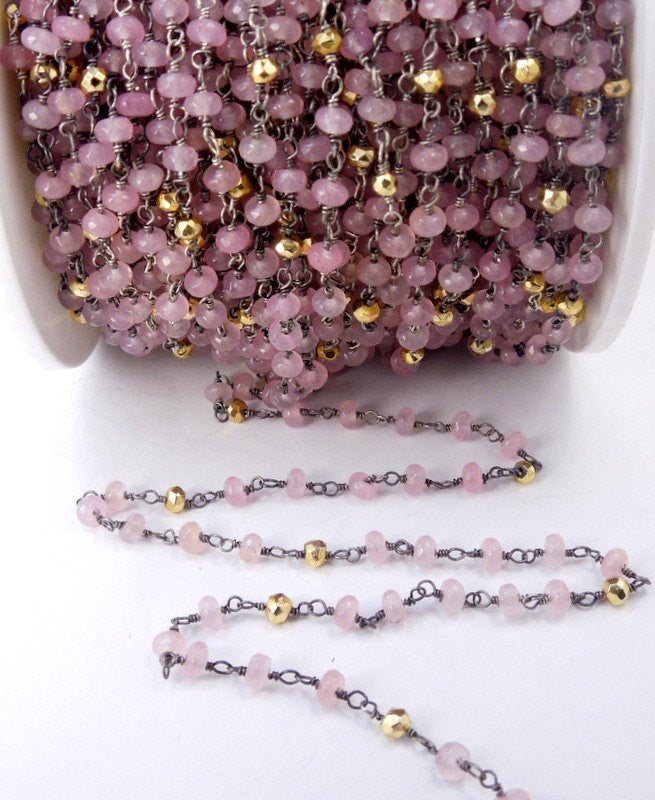 Rose Pink Chalcedony and Gold Pyrite Wire Wrapped Beaded Chain - Oxidized Sterling Silver Rosary Style Chain