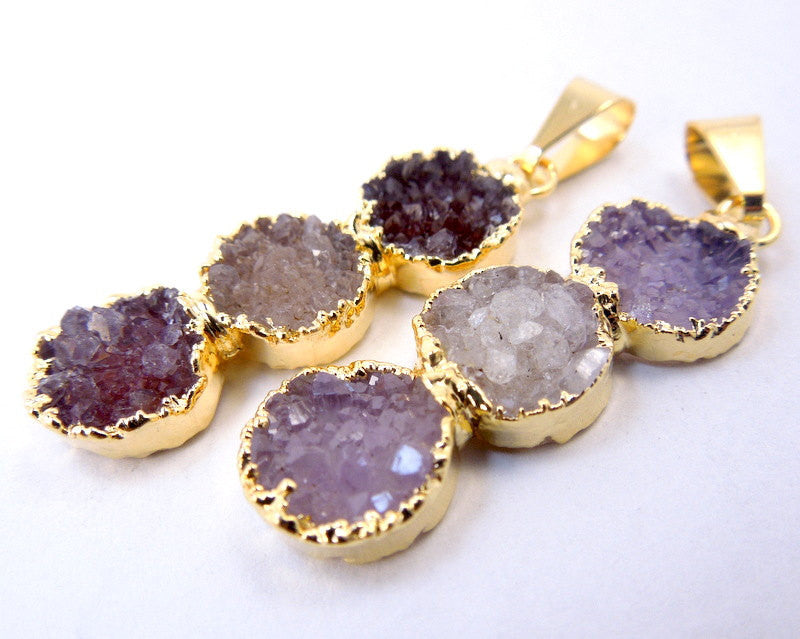 Druzy Pendant- Triple Quartz Gemstones Pendant with 24k Gold Electroplated Edge (S11B6-08)