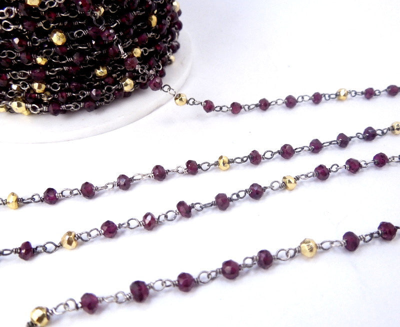Garnet and Gold Pyrite Wire Wrapped Beaded Chain - Oxidized Sterling Silver Rosary Style Chain