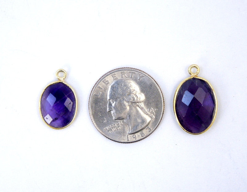 Amethyst Station Oval Pendant- 12mm x 15mm Gold over Sterling Silver Bezel Charm Pendant