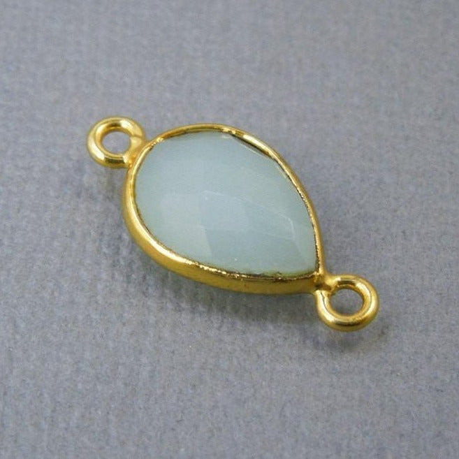 Bezel Sea Blue Chalcedony Teardrop Connector - 9mm x 13mm Gold Plated - Double Bail (S48B22-07)