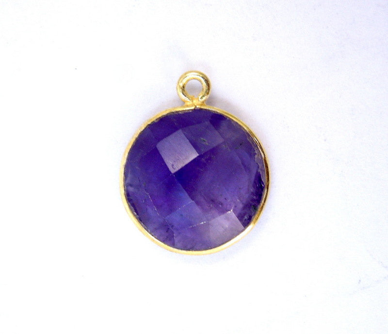 Amethyst Station Round Charm Pendant- 15mm Gold Over Sterling Bezel Charm Pendant