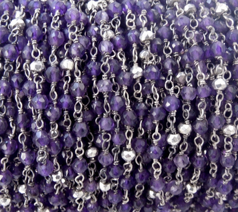 Gemstone Chain - Amethyst and Silver Pyrite Wire Wrapped Oxidized Sterling Silver Chain - Beaded Chain