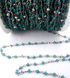 Gemstone Chain - Green Onyx and Silver Pyrite Wire Wrapped Oxidized Sterling Silver Chain - Beaded Chain