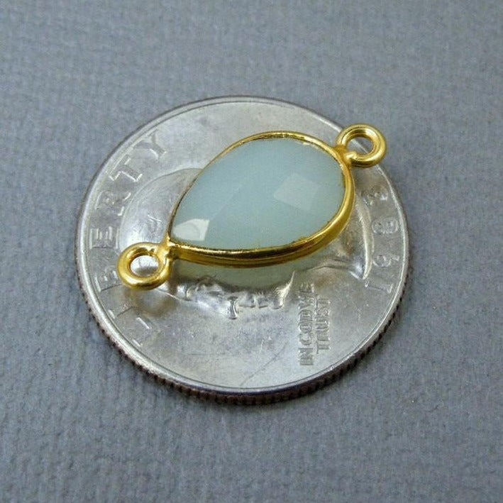 Bezel Overstock Sale Sea Blue Chalcedony Teardrop Connector - 9mm x 13mm Gold Plated - Double Bail
