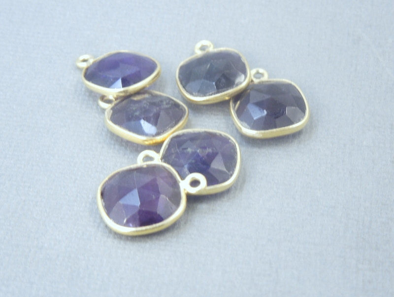 Amethyst Bezel Connector Square Pendant - 12mm Gold Over Sterling  - Charm Pendant (S21B4-04)