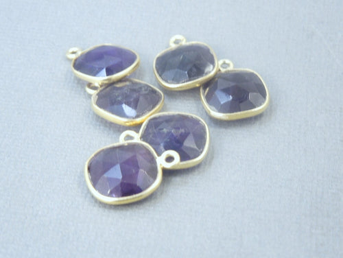 Amethyst Bezel Connector Square Pendant - 12mm Gold Over Sterling  - Charm Pendant