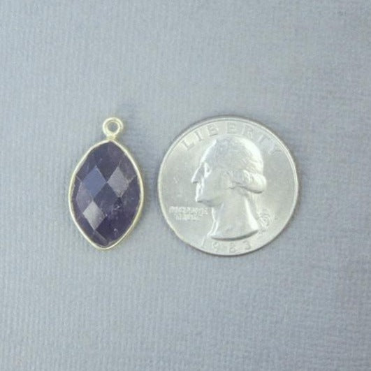 Amethyst Bezel Marquise Pendant- 18mm x 11mm Gold over Sterling Silver Bezel Charm Pendant