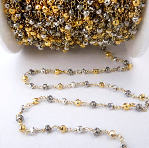 Assorted Pyrite on Gold over Sterling Silver  or Plated Wire Wrapped Chain (CHN-357)