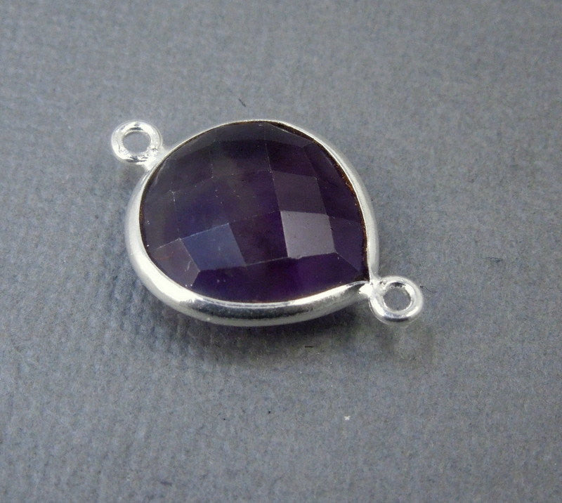 Amethyst Gemstone Connector- Amethyst Station Drop Connector - 15mm Sterling Silver Bezel Link - Double Bail Charm Pendant