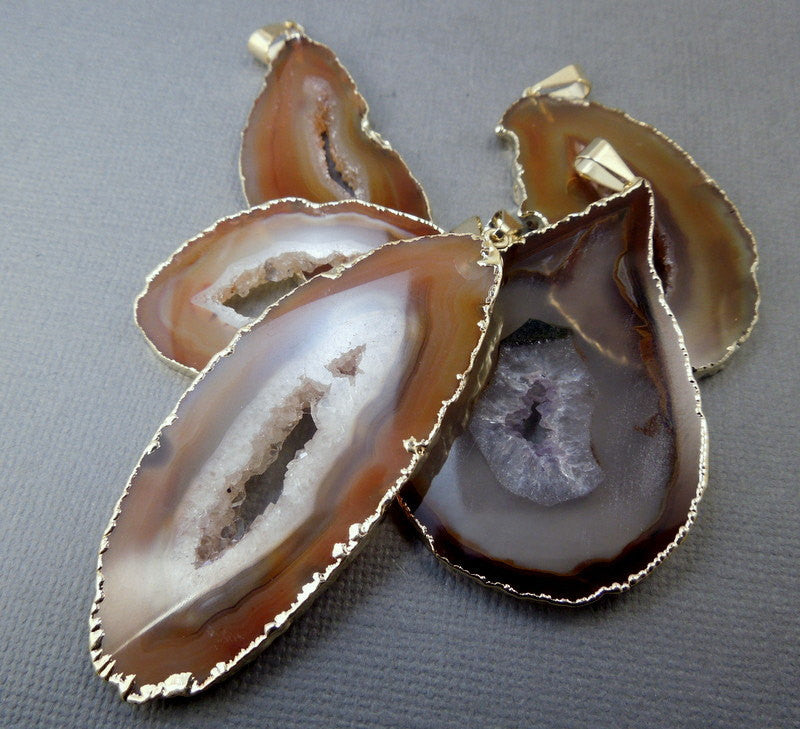 Tan Colored Agate Druzy with Electroplated Gold Edges and Bail AAA Extra Quality Agates DSA