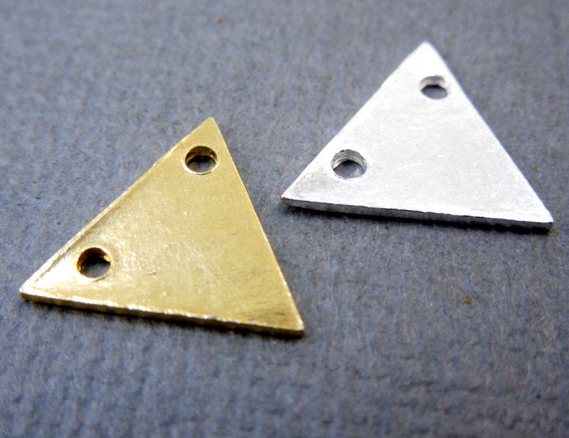 Triangle Stamping Blank Sterling SILVER 11mm Triangle Connector Charm Pendant (S67B7-01)