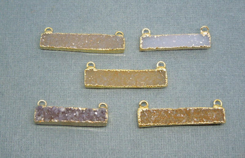Druzy Druzzy Drusy Rectangle Bar Double Bail Pendant with 24k Gold Electroplated Edge (S1B13-05)