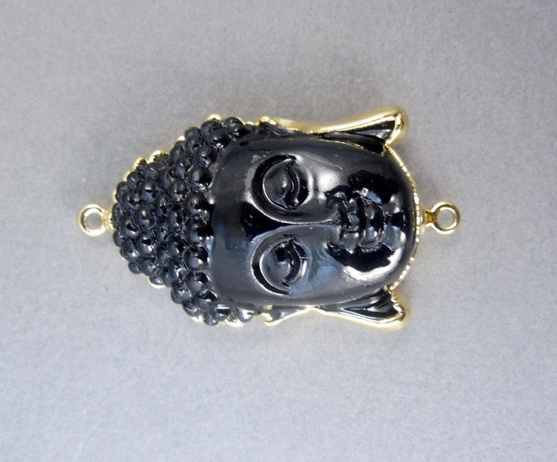Double Bail Black Buddha edged in Electroplated 24k gold pendant Connector  - exclusive design (S1B5-10))
