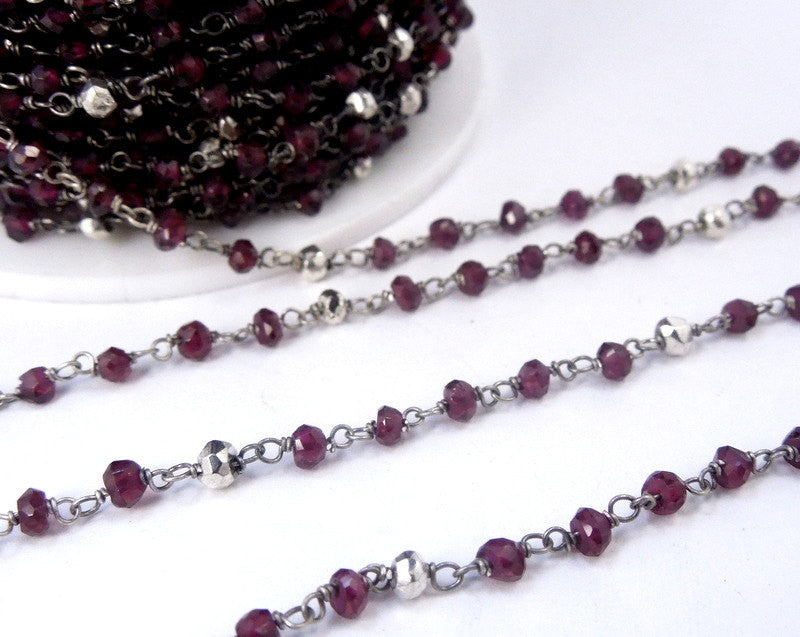 Garnet and Silver Pyrite Wire Wrapped Beaded Chain - Oxidized Sterling Silver Rosary Style Chain