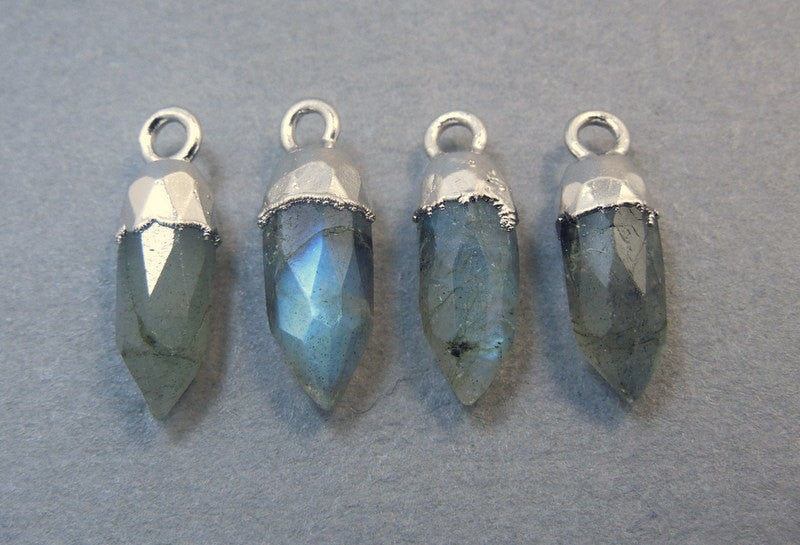 Tiny Labradorite 13mm Spike Pendant Charm with Electroplated Sterling Silver Cap and Bail (S64B7-01)