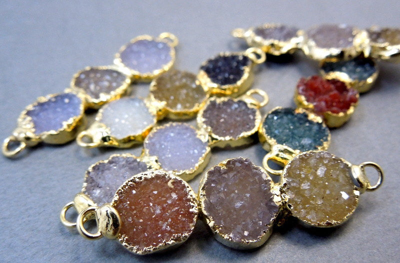 Druzy Pendant- Triple Druzy Quartz Gemstone Double Bail Connector Pendant with 24k Gold Electroplated Edge (S11B6-05a)