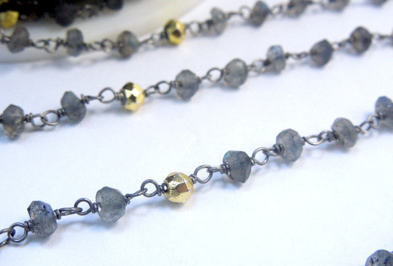 Labrodorite and Gold Pyrite Wire-Wrapped Beaded Chain-- Rosary Style Oxidized Sterling Silver or Plated Chain