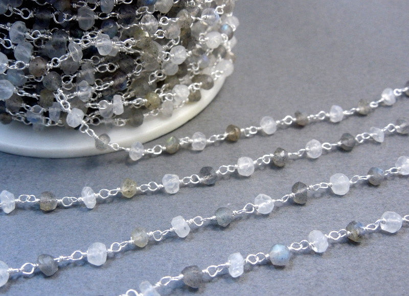 Labradorite and Moonstone Wire-Wrapped Beaded Chain-- Rosary style Sterling Silver Chain or Plated