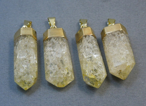 Yellow Crystal Quartz Crackle Point Pendant with Gold Electroplated Cap CPT (S70B4-22)