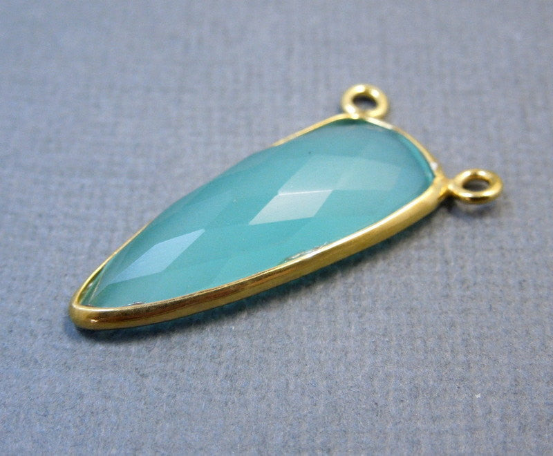 Aqua Blue Chalcedony Dagger Shaped Double Bail Pendant- Gold over Sterling Silver Bezel Charm Pendant