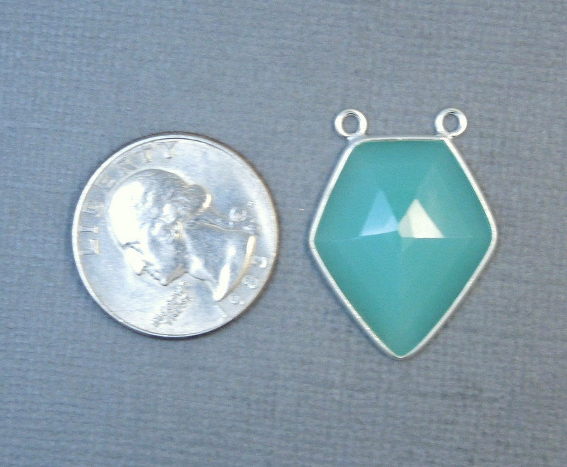 Aqua Blue Chalcedony Shield Shaped Double Bail Pendant- Sterling Silver Bezel Charm Pendant