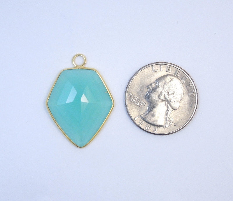 Aqua Blue Chalcedony Shield Shaped Pendant- Gold over Sterling Silver Bezel Charm Pendant