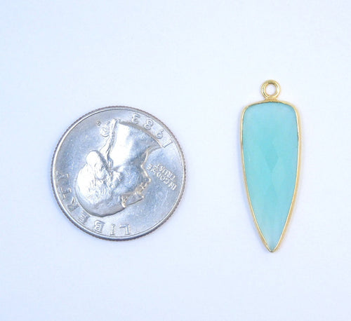 Aqua Blue Chalcedony Dagger Shaped Pendant- Gold over Sterling Silver Bezel Charm Pendant