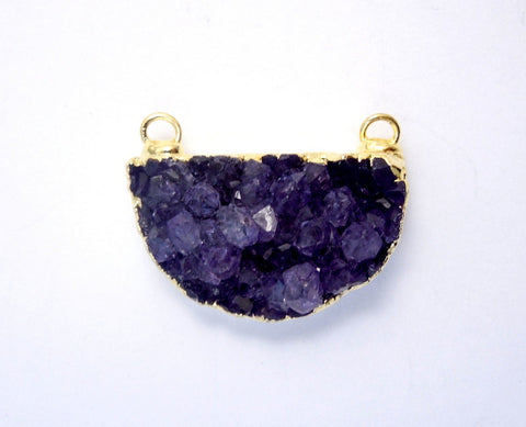 Druzy Double Bail Petite Triangle Charm Pendant with 24k Gold Layered Edge(S1B7-01)